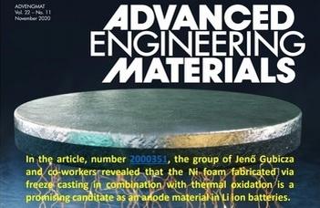 Kollégáink eredményei az Advanced Engineering Materials címlapján